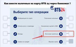Внесение наличных на карту ВТБ24 через банкомат