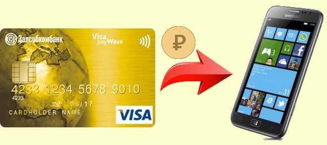как положить деньги на телефон с карты Запсибкомбанка